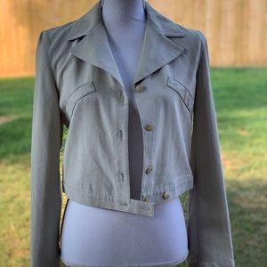 Emporio Armani Tan Gray Cropped Blazer Jacket 6